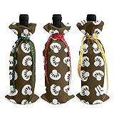 3 bolsas de botellas de vino, setas japonesas, bolsa de asas navideña para bodas, regalos de fiesta, Navidad, vacaciones y suministros para fiestas de vino