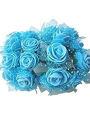 144pcs boda flores artificiales Mini espuma ramo de pétalos de rosa decoración de boda Amesii azul