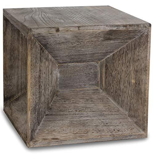 Homestyle4u 1772, Hocker Beistelltisch Holz, Würfel Nachttisch Braun Grau