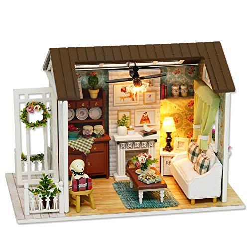 Decdeal DIY Casa de Madera Artesanal con Muebles y Luces LED