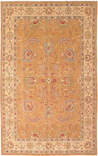 eCarpet Gallery Area Rug for Living Room, Bedroom | Hand-Knotted Wool Rug | Lahor Finest Bordered Brown Tapestry Kilim 5'6