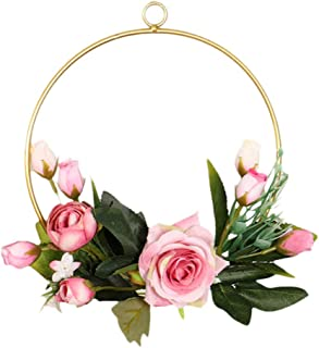 Fine Wrought Iron Flower Stand | Modern Chic Artificial Rose Peony Fern Flower Wall Hoop Garland | Perfect for Wedding Decor Bridal Shower Farmhouse Decoration
