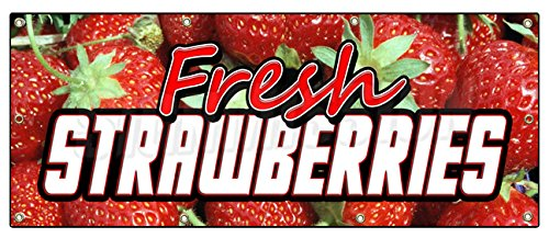 "36""x96"" FRESH STRAWBERRIES BANNER SIGN fruit stand cart signs produce farm"