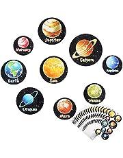Pegatina Espacial para Niños MEZOOM 180 piezas Pegatinas de Recompensa de Nueve Planeta Extraíble con Sistema Solar Calcomanías Actividades Educativa de Aprendizaje Decoración de Fiestas de Bricolaje