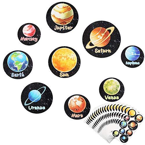Sonnensystem Aufkleber, MEZOOM 180Pcs Kinder Planet Sticker Weltraum Kindersticker Neun Planeten Sonne Erde Deko für Space Mottoparty Mitgebsel Kinderzimmer Wandaufkleber Lernaktivitäten