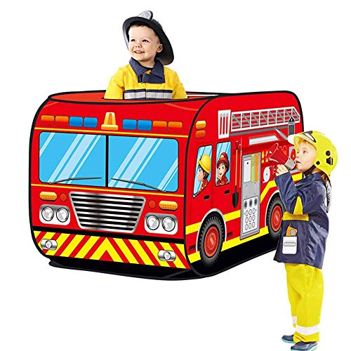 XZPZ Kids Pop Up Play Tent Toy Foldable Playhouse Cloth Simulation Fire Truck Simulation Police Tent Car Game House Bus Tent,Blue
