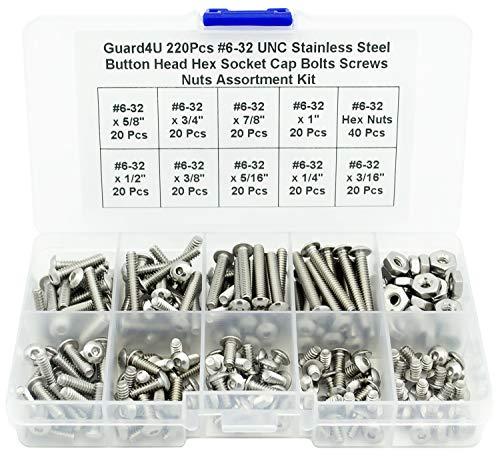Guard4U 220Pcs #6-32 UNC Stainless Steel Button Head Hex Socket Cap Bolts Screws Nuts Assortment Kit- #6-32x 3/16