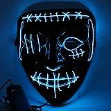 Etmury Halloween Maske Led Leuchten Masken mit 3 Einstellbare Blitzmodi für Horror Halloween Fasching Karneval Party Kostüm Cosplay Dekoration (Blau)