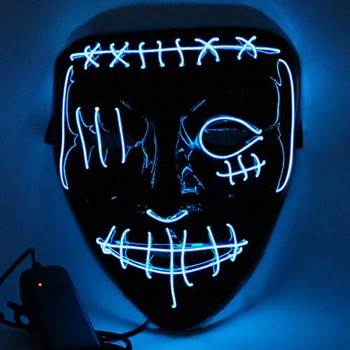 Etmury - Maschera spaventosa per Halloween, con 3 modalità di illuminazione, per adulti, bambini, per feste in maschera, carnevale, decorazione personalizzata (blu)