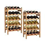HOMECHO Set de 2 Botelleros para 20 Botellas de 5 Estantes Estantería para Botellas de Vino de Bambú 43.5 x 24.6 x 73 cm