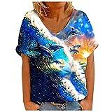 Janly Clearance Sale Camiseta para mujer, informal, con cuello en V, estampado de animales marinos, manga corta, para verano, vacaciones