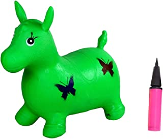 Lsmaa Inflatable Hopping Horse Outdoors Ride On Bouncy Animal Jumping Horse with Pump for Kids Children Toddlers (Green)