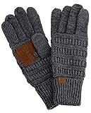 C.C Unisex Cable Knit Winter Warm Anti-Slip Touchscreen Texting Gloves, Dark Melange Gray Metallic