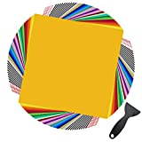 "Permanent Adhesive Vinyl Sheets - 80 Pack 12"" x 12"" 35 Assorted Colors Permanent Vinyl for Cutting Machine 70Pack (Matte & Glossy) Outdoor Vinyl for Cricut w/ 10 Pack Transfer Tape by JANDJPACKAGING"