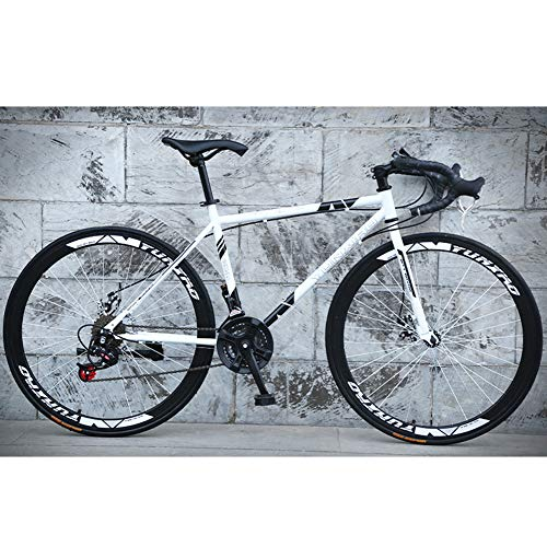26-Inch Road Bicycle, 24-Speed Bikes, Double Disc Brake Bicycles, High Carbon Steel Frame, Road Bicycle Racing, Rider Height 165-185 cm (5.4-6 Feet),White