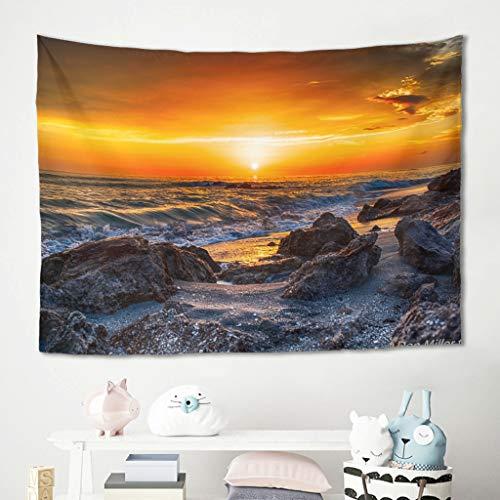 Tapiz de pared para colgar en la pared con luz solar, puesta de sol, playa, rocas, picnic, meditación, yoga, colchonetas para sofá, dormitorio, cama, decoración blanca, 100 x 150 cm