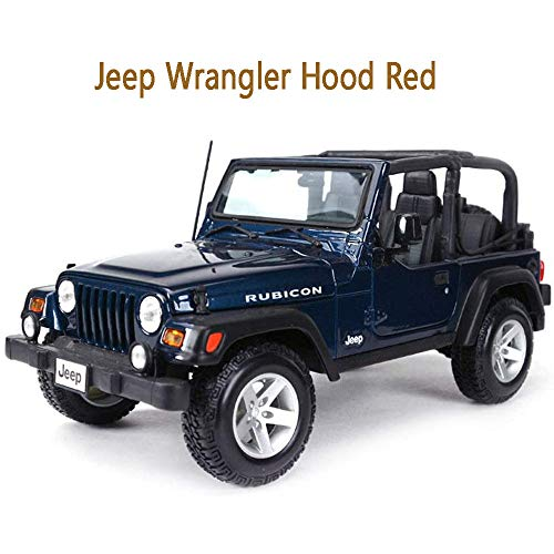 CHEIRS Jeep 2014 Wrangler Willys 1:18 Original Scale Model, Static Simulation Die-cast Model Metal Body, Collection and Gift Best Choice,Red Model Cars,Blue
