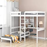 MERITLINE Twin Bunk Bed with Desk,Twin Loft Bed with Desk and Bookshelf,Convertible Dorm Loft Bed with Desk for Kids Teens, No Box Spring Needed (White)