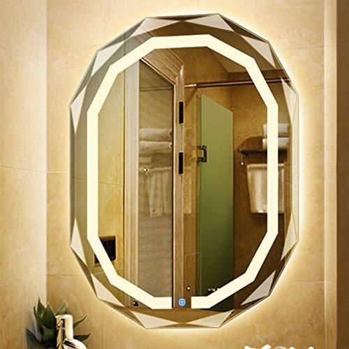 Badkamer make-up spiegel zonder lijst, met LED-licht aan de muur gemonteerd make-up spiegel diamant kant met touch schakelaar, boven de wastafel