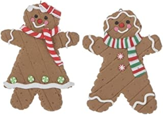 "S&C Gifts 5"" Baked Gingerbread Boy and Girl Ornament Bundle, Holiday Sweets Kitchen Collection"