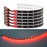 Bkinsety 10Pcs LED Tira de luz Flexible Impermeable 30CM 3528SMD Decoracion LED Luces para Inicio Cocina Dormitorio Bar Coche(Rojo)
