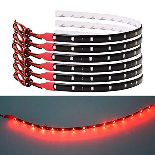 Bkinsety 10Pcs LED Lichtleiste Balken 30cm 15 LED 3528 SMD Flexibler LED Streifen Leiste 12V für Garten Weihnachten Küche(Rot)