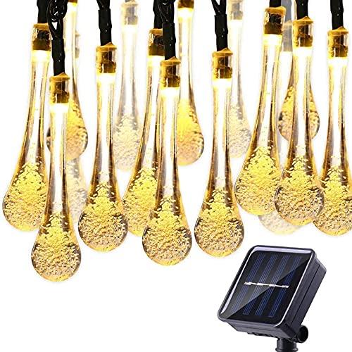 Guirnalda Luces Exterior Solares, 8 Modos Guirnalda LED Exterior, 9.5 m Luces Decorativas de Interior, 50pcs Bombillas Blancas CáLidas para Jardín, Boda, Fiesta (blanco cálido)
