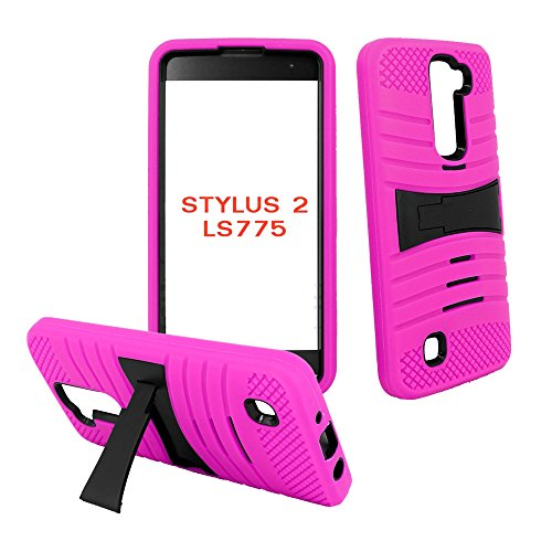 Phone Case for LG Stylo 2 4g LTE Tempered Glass Screen Protector with Heavy Duty Armor Cover Pink-Black Stand
