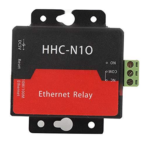 Módulo de relé de red Ethernet, módulo de relé Módulo de relé de red IP, adquisición automática confiable de IP HHC-N10 para velocidad de 100M -40 ℃ -85 ℃ con carcasa