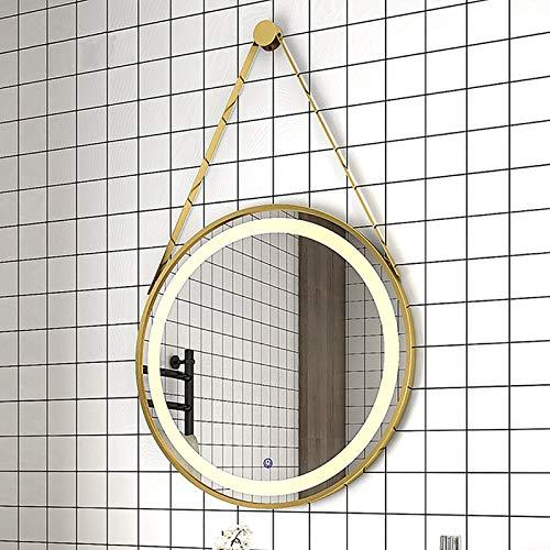 GETZ Espejo de Baño Redondo con Iluminación LED, Espejo de Tocador Inteligente de Pared con Marco de Metal e Interruptor Táctil de Iluminación, 3 Colores Claros, Múltiples Opciones