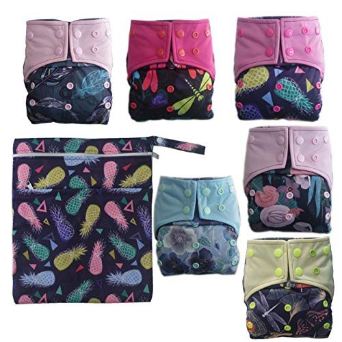 AIO Reusable Washable Cloth Diaper Nappy Charcoal Bamboo Insert Overnight Double Gussets Girl