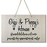 LifeSong Milestones Grandparent Loving Children Welcome Home Decor Gift Plaque for Grandma Grandpa Grandparents Granddad Papa Nana 8 x 12 (Gigi and Poppy Black)
