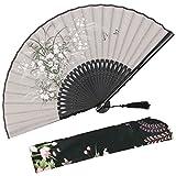 omytea 'grassflower plegable Mano Ventilador para las mujereschino/japons Vintage Retro Estilocon una funda de tela para proteccin, gris