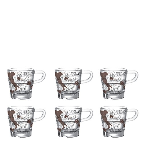 Leonardo Senso Italiano Espressotasse, 6-er Set, 70 ml, spülmaschinengeeignet, hitzebeständiges Klarglas, 076090