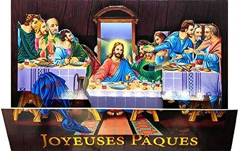Afie 62-1011-A - Tarjeta desplegable 3D con diseño de patucos en oro brillante y sobre blanco, diseño de Jesús Cristo Cène última comida, comida, pan, vino, apóstos, fiesta y primavera