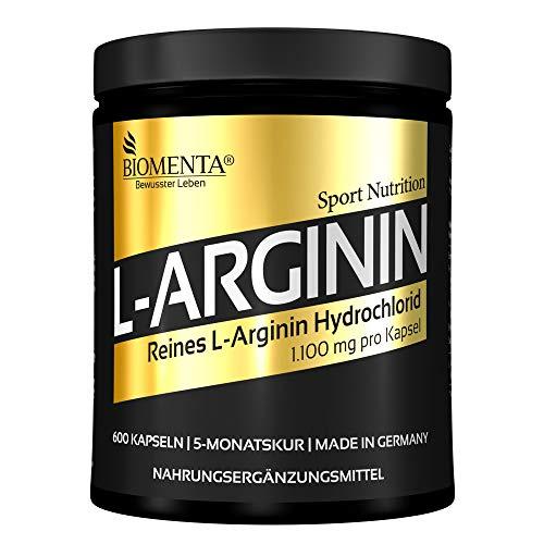 BIOMENTA L-Arginin Gold - 600 Aminosäure Arginin Kapseln - 5 Monatskur