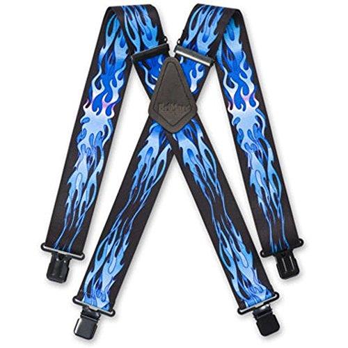 """Brimarc Mens Lourds Bleu Flammes Bretelle De Pantalon Ceinture Bretelles 2"""" 50mm De Large"""
