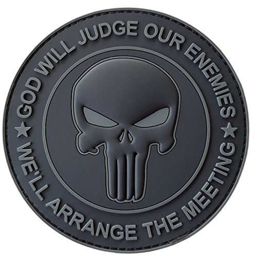 2AFTER1 All Black GOD Will Judge Our Enemies Punisher Skull Subdued DEVGRU Navy Seals PVC Hook-and-Loop Patch