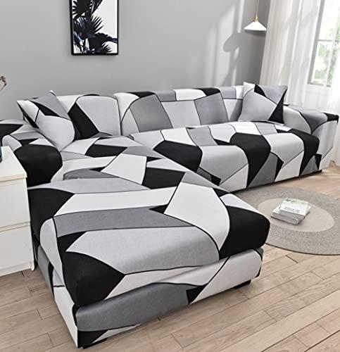 Funda Sofa 1 Plaza Negro Blanco Gris Fundas para Sofa con Diseño Elegante Universal,Cubre Sofa Ajustables,Fundas Sofa Elasticas,Funda de Sofa Chaise Longue