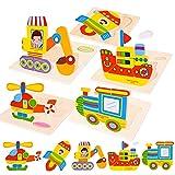 FORMIZON Puzzles de Madera, Juguetes Bebe 1 2 3 4 Años, Animales Puzzles 5 Piezas, Rompecabezas de Madera Set Montessori niños Inteligencia Juguete, Regalos de Cumpleaños Navidad para Niños (Vehículo)