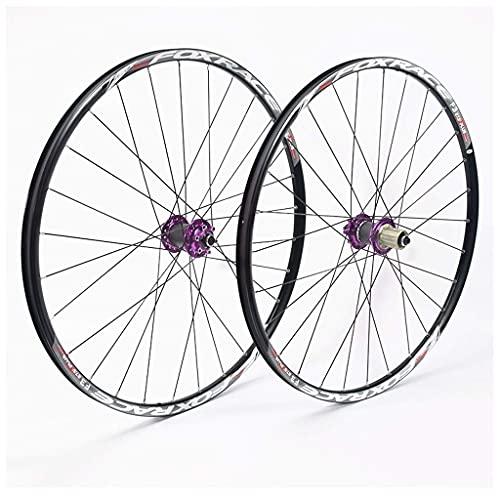 VTDOUQ Juego de Ruedas de Bicicleta MTB de 26'27,5', Eje Delantero y Trasero de Freno de Disco, rodamientos sellados, buje F3
