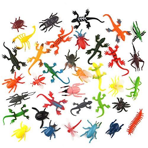 FEPITO 36 STÜCKE Kunststoff Realistische Bugs Lebensechte Insektenfiguren Spielzeug Verschiedene Käfer Eidechse Libelle Modell Tier Spielzeug für Kinder Lernspielzeug Party Favors Schule Geschenke