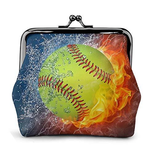 KZEMATLI Fire Softball Damen Geldbörse Geldbörse mit Schnalle und Münzen, niedlich, modisch, mit Kiss-Verschluss, Weiá (Münzbörse Fire Softball), Einheitsgröße