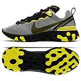 Nike Men's React Element 55 Casual Shoes (9.5, Pure Platinum/Black/Dynamic Yellow)