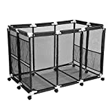 Yescom 48'x30'x34' Mesh Pool Storage Bin XX-Large Pool Storage Organizer Rolling Cart for Pool Toys Goggle Balls Float Container Black
