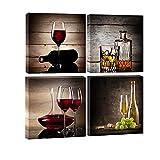 Juego de 4 cuadros de Wieco Art, HD, estirados y enmarcados, con diseño de copas de vino...