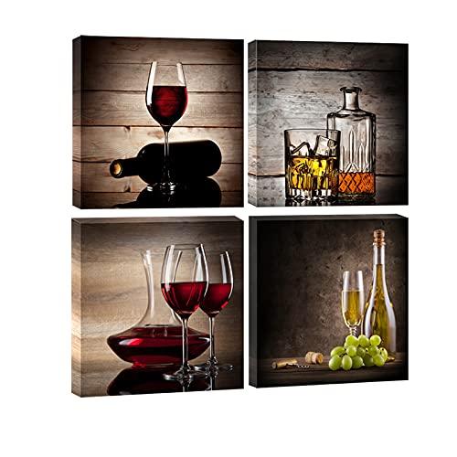 Juego de 4 cuadros de Wieco Art, HD, estirados y enmarcados, con diseño de copas de vino tinto, arte contemporáneo y vintage, cuadro Giclee sobre lienzo para decoración de cocinas