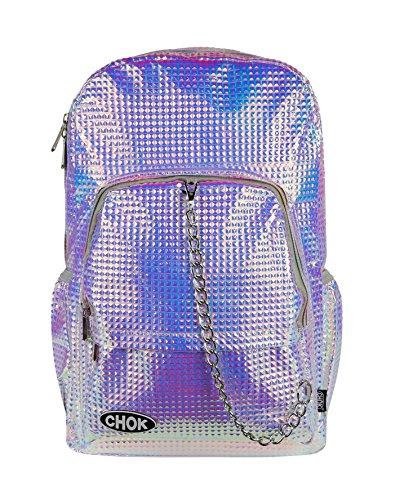 CHOK Holo Square Nieten Metallic Pink Lila 3D Hologramm Rucksack Tasche mit Laptop Schutz | Schule Uni Reisen | Holografisch reflektierender Spiegel Cool Effekt