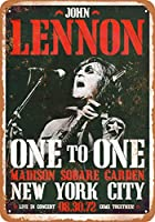 Shimaier 20×30cm 金属ブリキ看板ホーム装飾壁アート 1972 John Lennon Madison Square Garden
