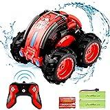 allcaca RC Voiture Télécommandée 60M 4WD Stunt Car 12KMh pour Enfant, 360 Degrés dans l'eau Imperméable, Batterie Incluse (Rouge)